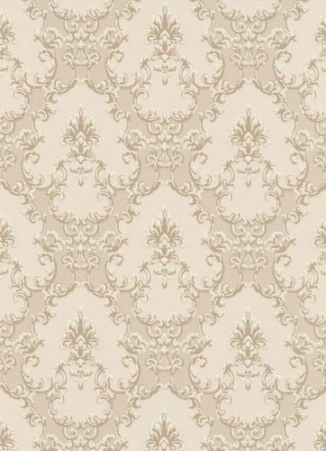 Vinyl Wallpaper Ornaments beige cream Gloss 6376-14