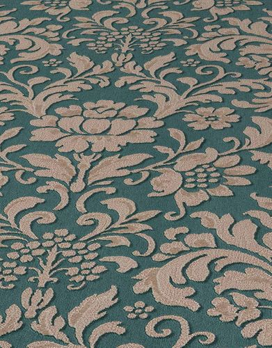 Vinyl Wallpaper Baroque Floral green brown Gloss 6378-07 online kaufen