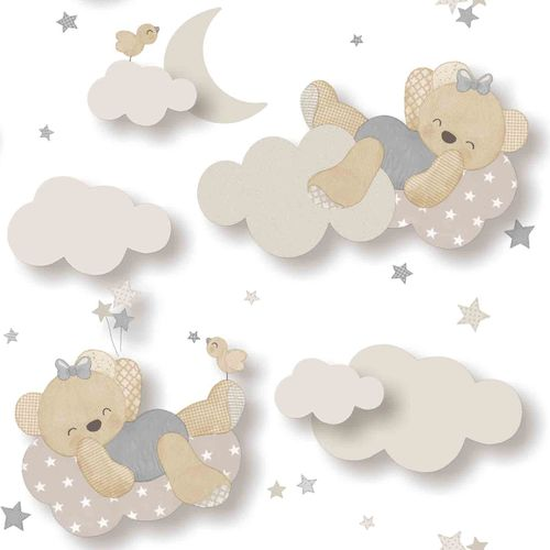 Kids Wallpaper bear clouds white beige Babylandia 005401