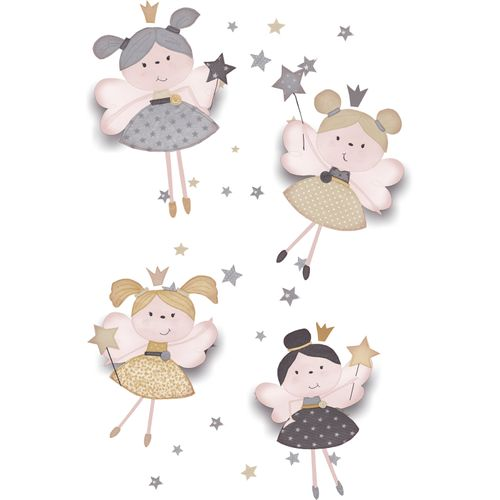 Kids Wallpaper fairies stars white grey Babylandia 005405 online kaufen