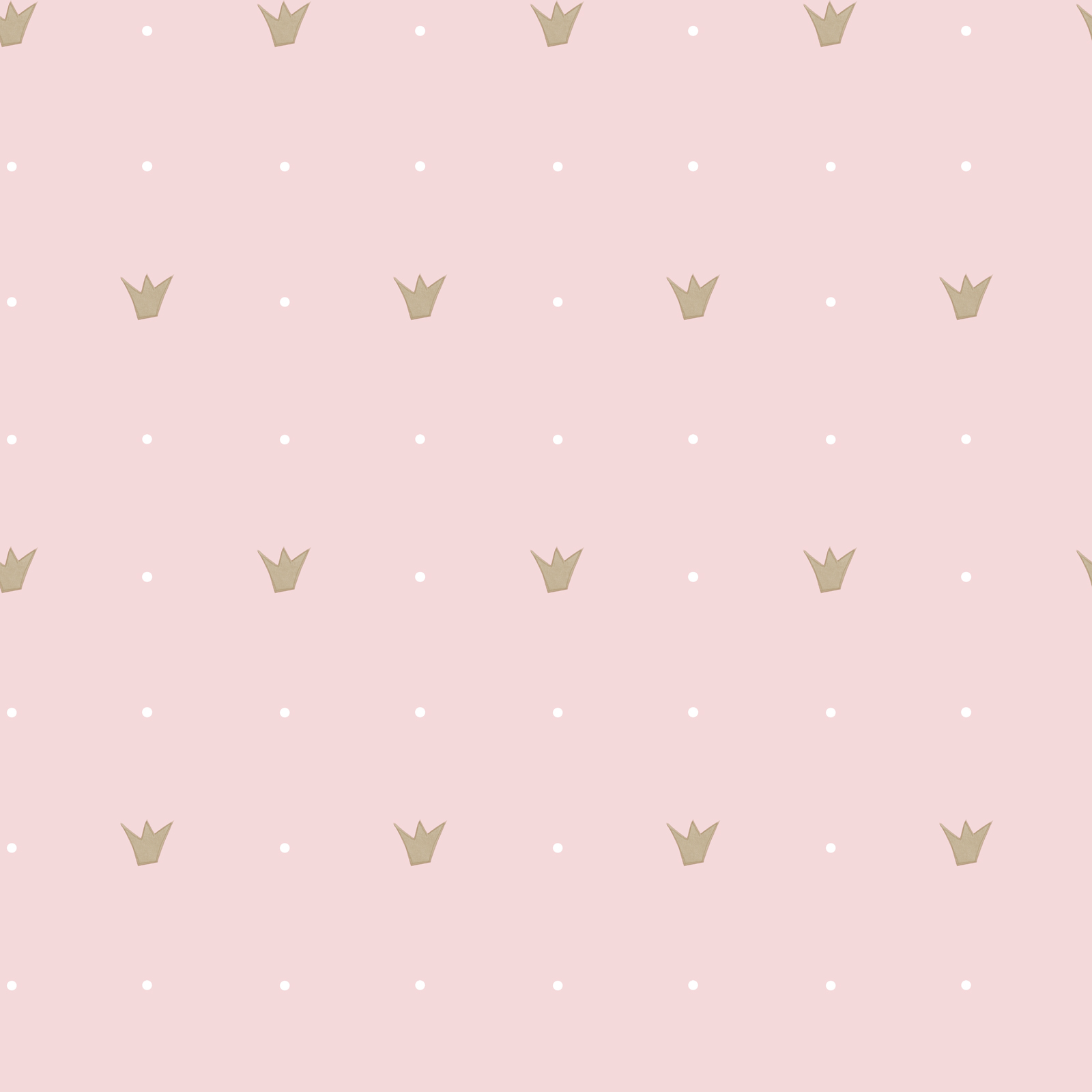 Kids Wallpaper Crown Dots Pink Gold Babylandia 005410