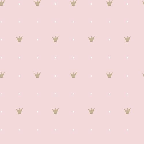 Kids Wallpaper crown dots pink gold Babylandia 005410 online kaufen