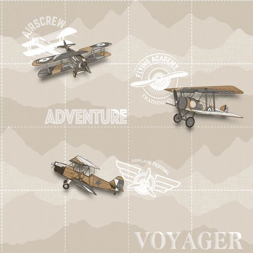 Kids Wallpaper airplane scripture beige white 005413 online kaufen
