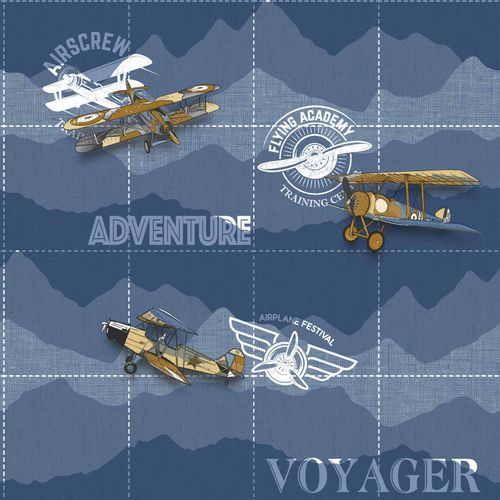 Kids Wallpaper airplane scripture dark blue white 005415 online kaufen