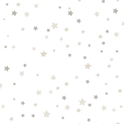 Kids Wallpaper stars white grey Babylandia 005437