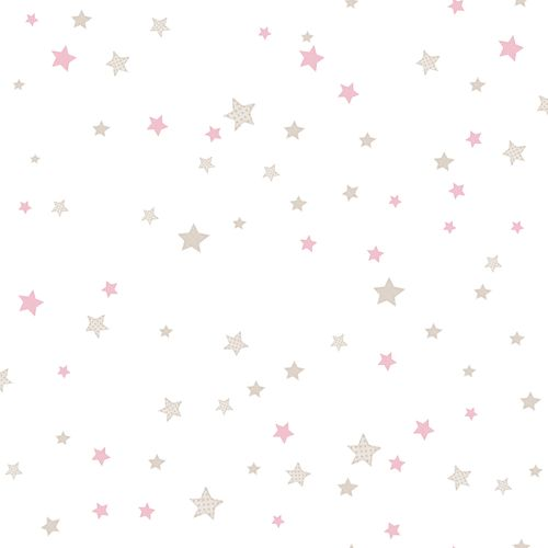Kids Wallpaper stars white pink Babylandia 005438