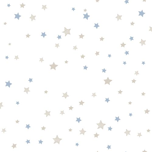 Kids Wallpaper stars white light blue Babylandia 005439