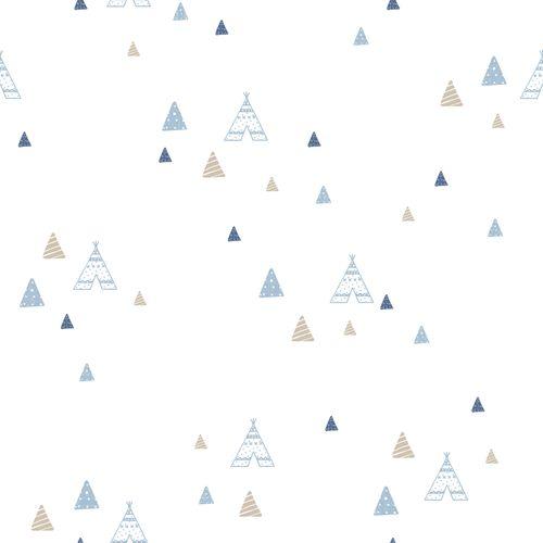 Kids Wallpaper tipi tent white blue Babylandia 005443
