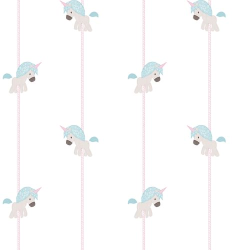 Kids Wallpaper unicorn stripped white pink 005456
