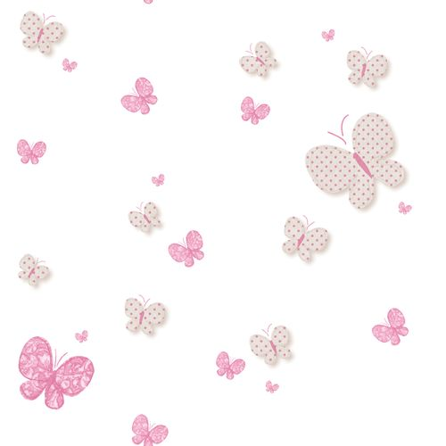 Kids Wallpaper butterfly white pink Babylandia 005458
