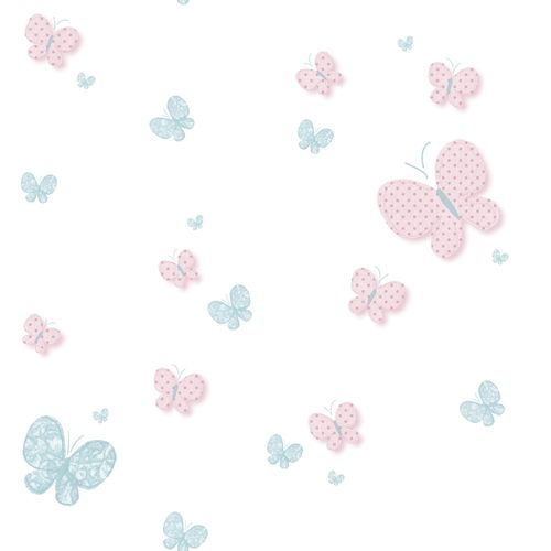Kids Wallpaper butterfly white pink 005459