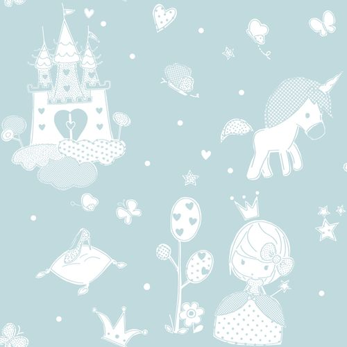 Kids Wallpaper castle princess turquoise white 005461