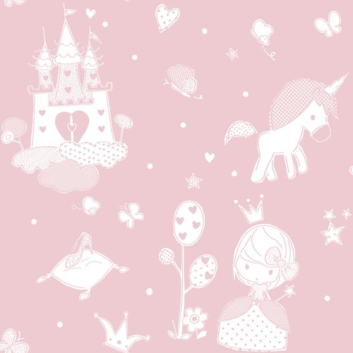 Kids Wallpaper castle princess pink white 005462 online kaufen