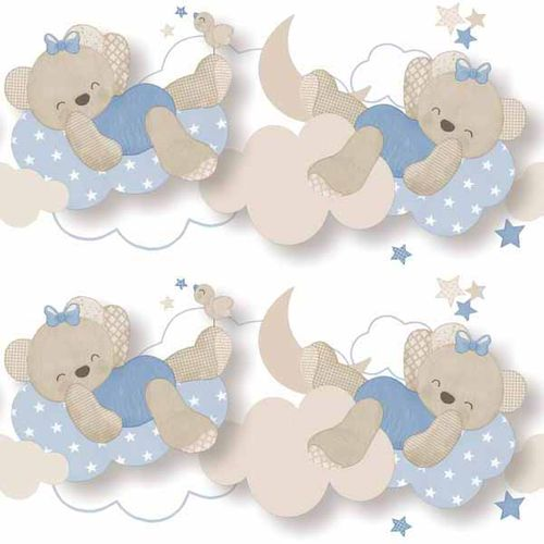 Kids Border bear clouds white blue Babylandia 005493