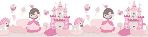 Kids Border princess castle white pink Babylandia 005498