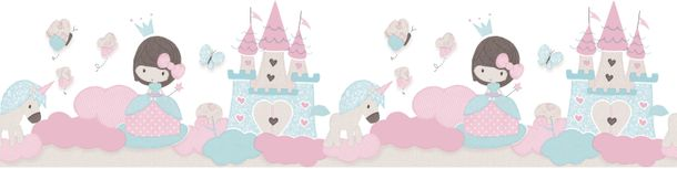 Kids Border princess castle white pink Babylandia 105499