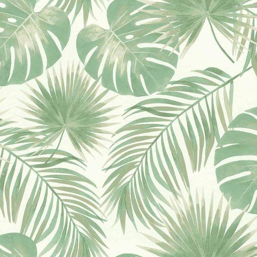 Non-Woven Wallpaper Jungle Watercolour white green 039012
