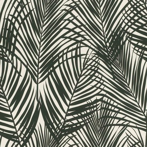 Non-Woven Wallpaper Fern Textile Look black grey 139008 online kaufen