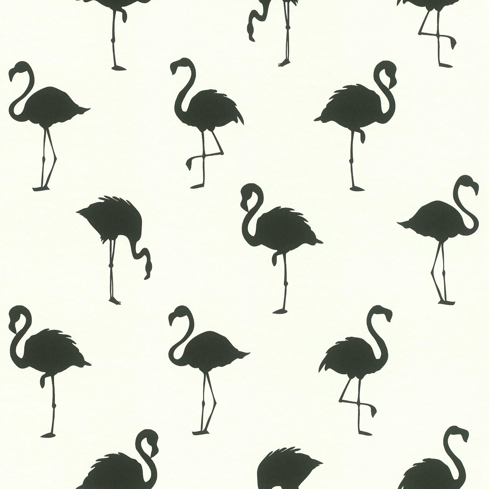 vliestapete flamingo schatten wei schwarz 138993. Black Bedroom Furniture Sets. Home Design Ideas