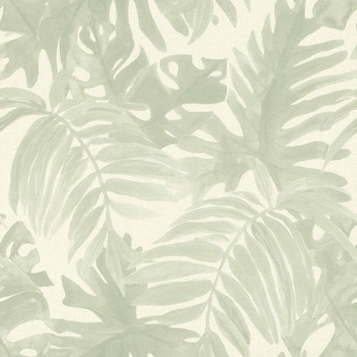 Non-Woven Wallpaper Palm Leaves Textile Look grey 138989 online kaufen