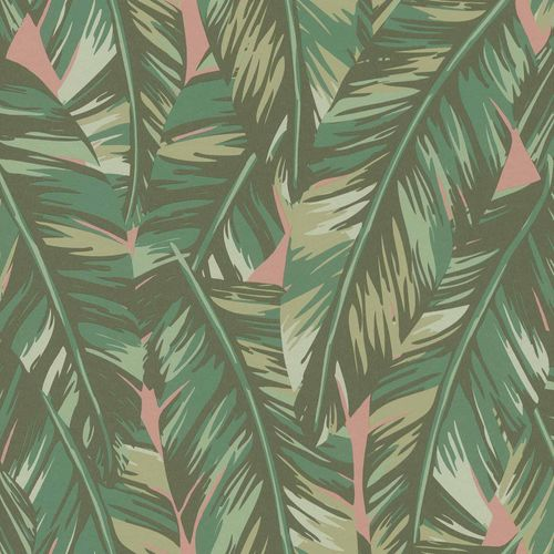 Non-Woven Wallpaper Palm Leaves Drawing green pink 139015 online kaufen