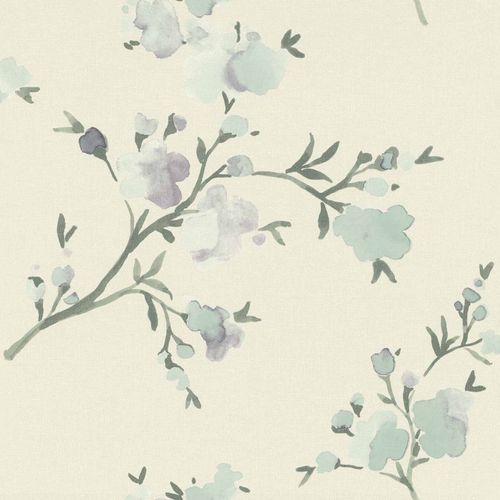 Non-Woven Wallpaper Floral Watercolour white grey 148715