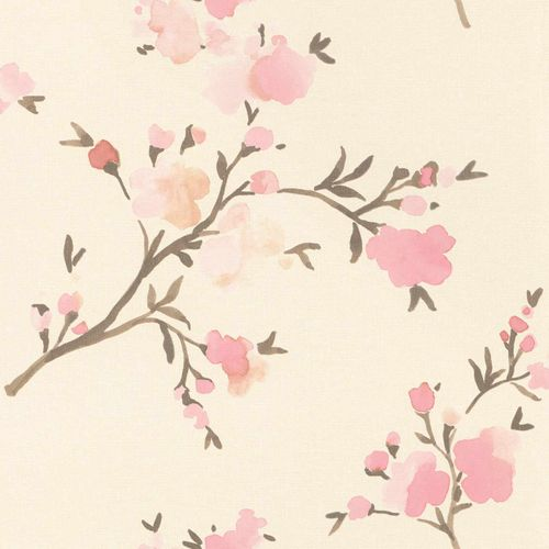 Non-Woven Wallpaper Floral Watercolour cream pink 148716 online kaufen