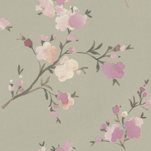 Non-Woven Wallpaper Floral Watercolour green pink 148717 online kaufen