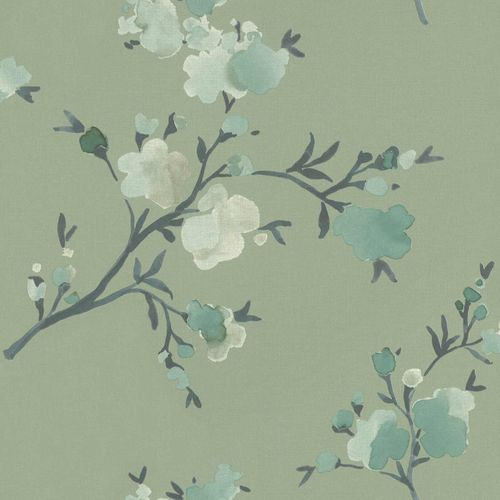 Non-Woven Wallpaper Floral Watercolour green blue 048718 online kaufen