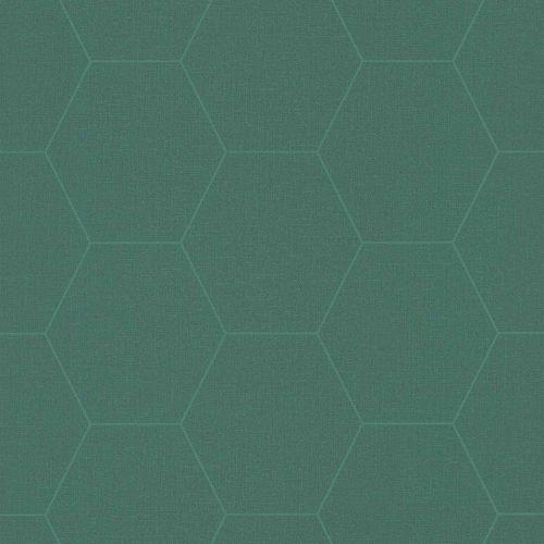 Non-Woven Wallpaper Graphic Combs dark blue green 148752