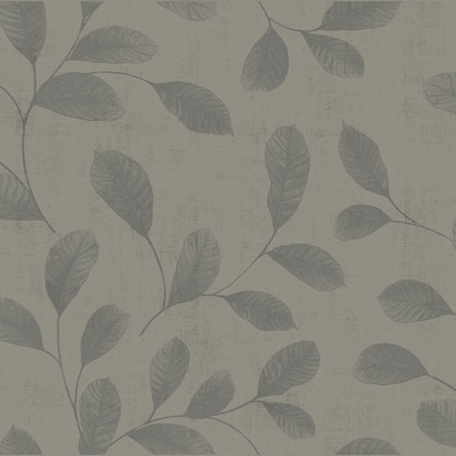 Non-woven Wallpaper Leaves Floral dark grey 112018