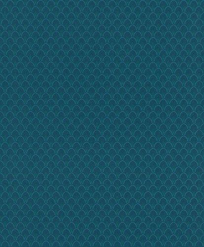 Textiltapete Ornament Fächer blau grün Glanz 086385 online kaufen