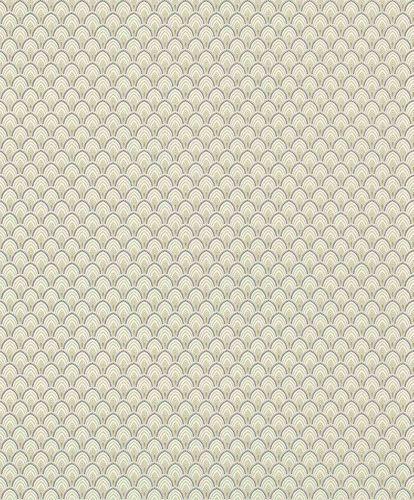 Textile Wallpaper Ornament Fan green purple Gloss 086453