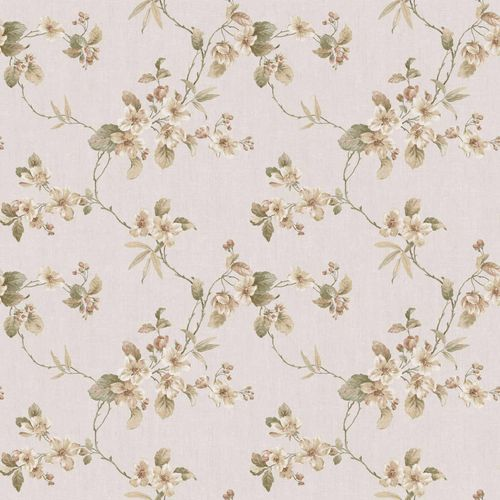Vinyl Wallpaper flower tendril cream gold brown 007800