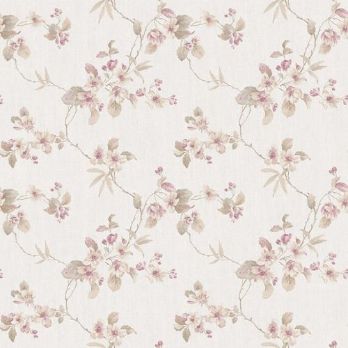 Vinyl Wallpaper flower tendril pink beige grey 007801 online kaufen
