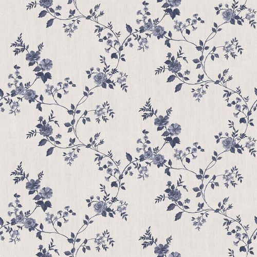 Vinyl Wallpaper rose tendril floral cream blue 107807