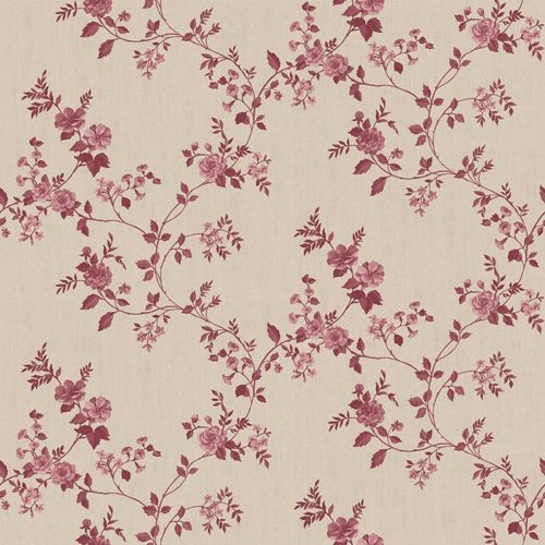 Vinyl Wallpaper rose tendril floral beige red 107808