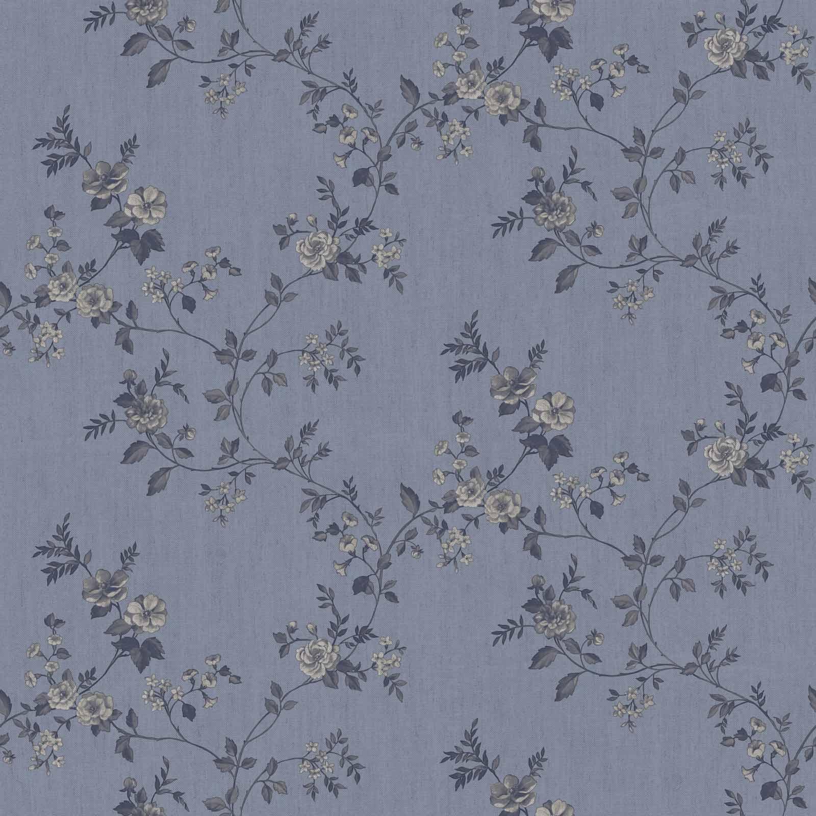 Vinyltapete Rosenranke Floral Graublau Anthrazit 007809