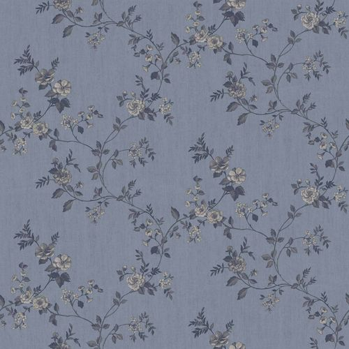 Vinyl Wallpaper rose tendril floral grey blue 007809 online kaufen