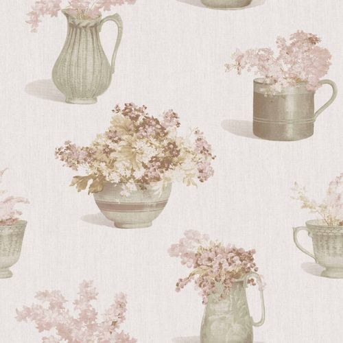 Vinyl Wallpaper flower vase floral cream pink 107811
