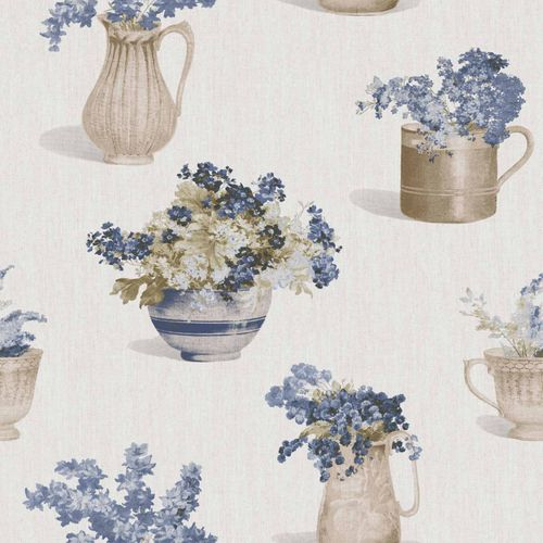 Vinyl Wallpaper flower vase floral beige dark blue 107812