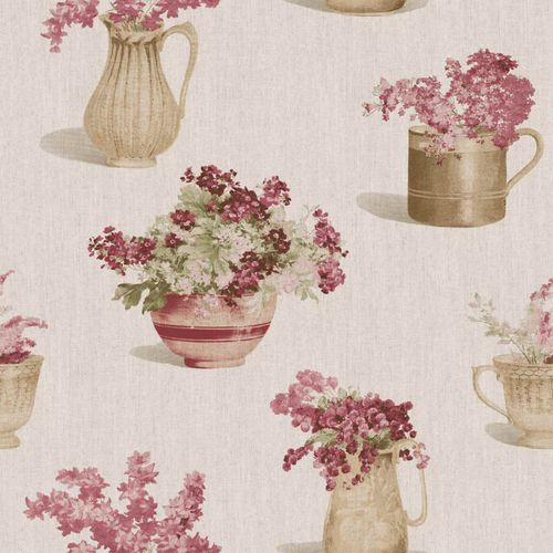 Vinyl Wallpaper flower vase floral beige red grey 107813