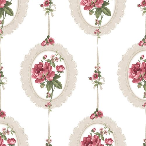 Vinyl Wallpaper medaillon floral cream red green 107818 online kaufen