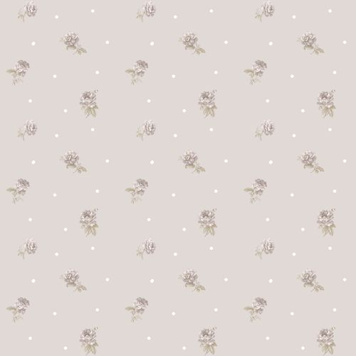 Vinyl Wallpaper roses dots beige white brown 107820