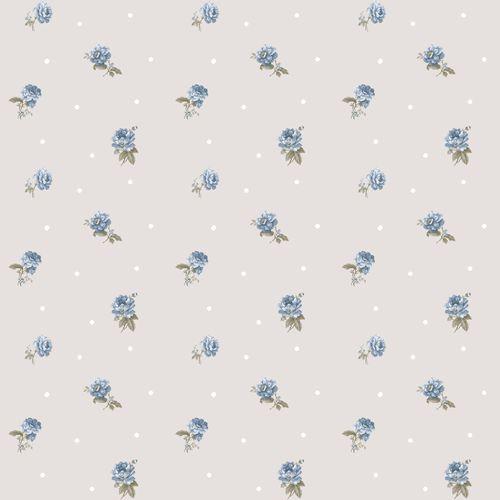 Vinyl Wallpaper roses dots grey blue white 107822