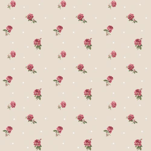 Vinyl Wallpaper roses dots beige red white 107823 online kaufen