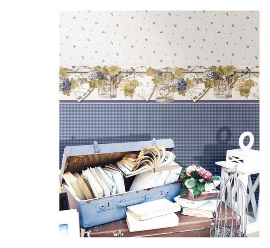 Vinyl Wallpaper little roses beige blue 107826 online kaufen