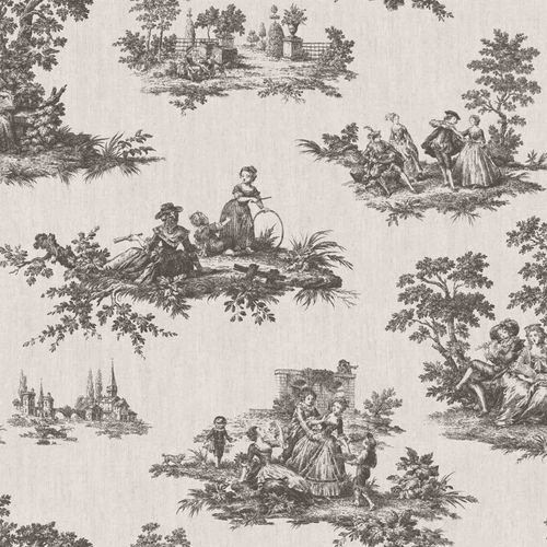 Vinyl Wallpaper Toil De Jouy Park beige anthracite 007839