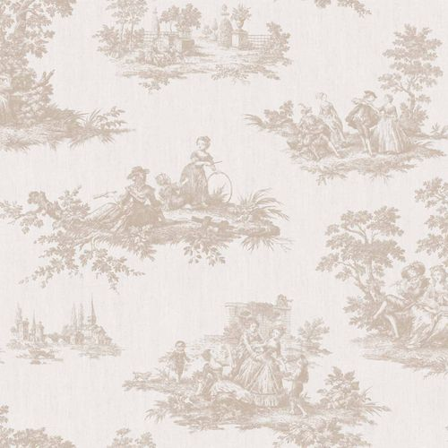 Vinyl Wallpaper Toil De Jouy Park cream beige 007840