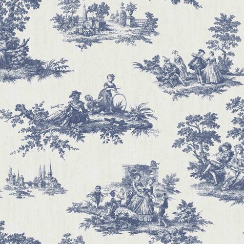 Vinyl Wallpaper Toil De Jouy Park beige dark blue 007843